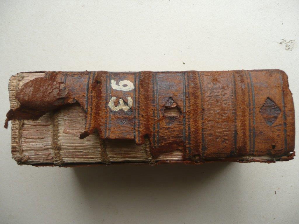 2) Neuer Lederrücken unterlegen (Vorher)