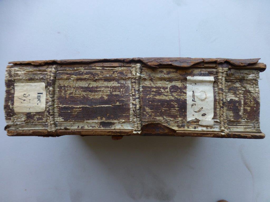 5) Überheftung von gebrochenen Lederbünden. Neuer Lederrücken bei Holzdeckelband. (Vorher)