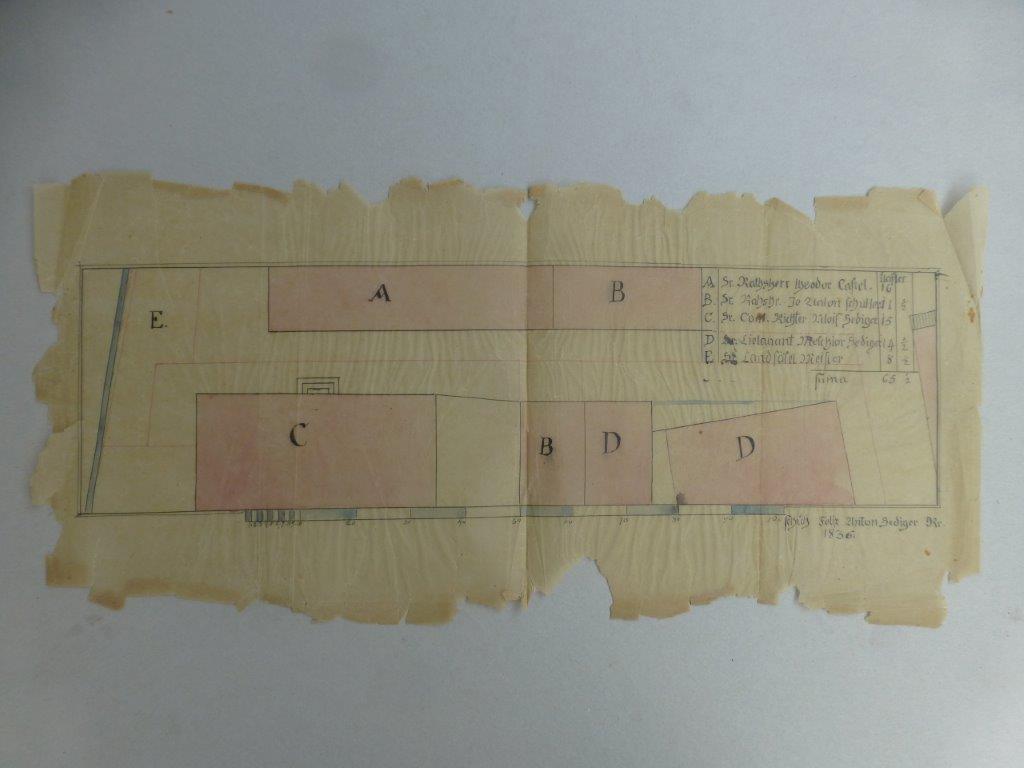 9) Restaurierung von Plan Transparentpapier (Vorher)